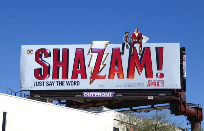 Shazam extension cut-out billboard