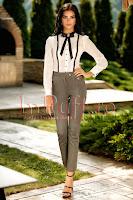 Pantaloni eleganti gri cu talie inalta