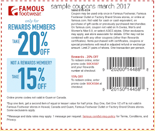 free Famous Footwear coupons march 2017