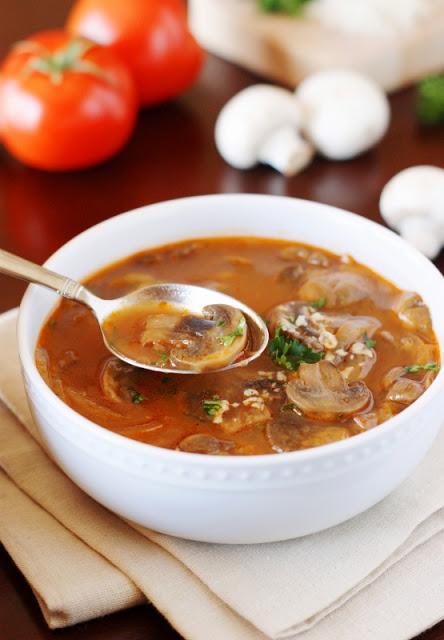 homemade tomato mushroom soup