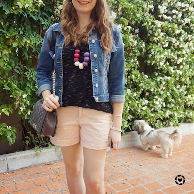 awayfromblue instagram denim jacket blush pink shorts black tee playgroup