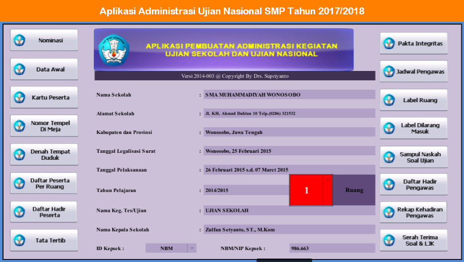 Aplikasi Administrasi Kegiatan Ujian Nasional SMP Tahun 2017 - 2018