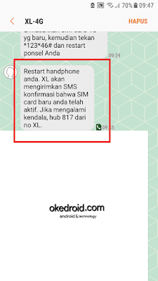 Sms dari XL-4G di perangkat android untuk aktivasi nomor kartu xl 3G ke 4G