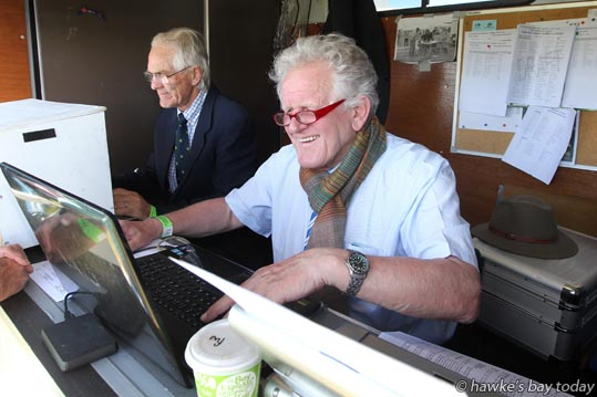 L-R: Ray Ward-Smith, ring time manager; Werner Deeg, Germany, international course designer, at work in the Land Rover Premier Arena, Horse of the Year, at the Hawke's Bay Showgrounds, Hastings. photograph
