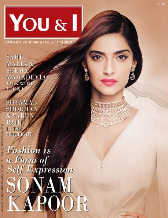 Sonam Kapoor On The Cover of You & I Magazine October 2017