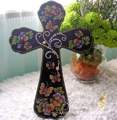 easter painted wood cross