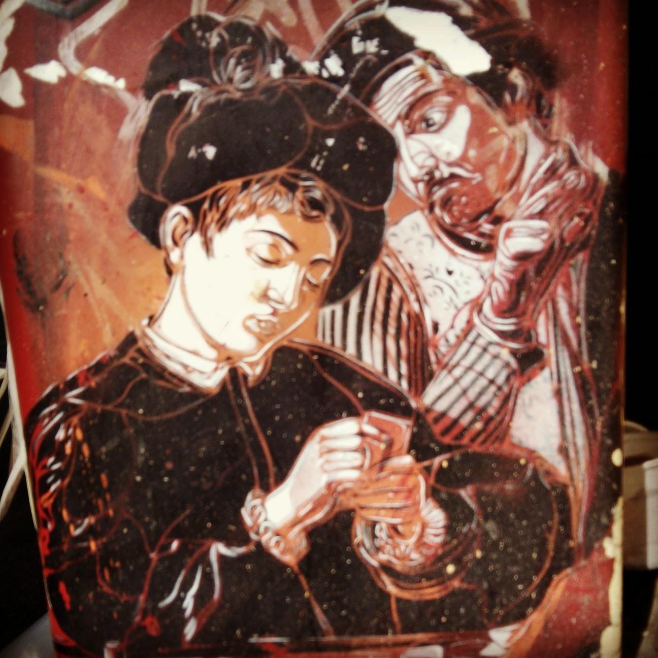 Grafiti de quadro de Caravaggio em Trastevere, visite Roma com uma guia que fala a sua lingua