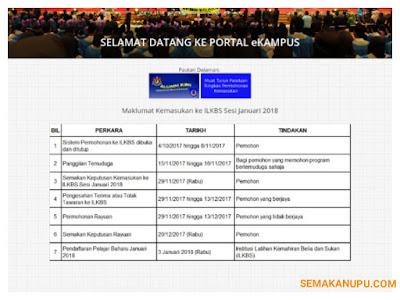 Permohonan ILKBS (IKBN, IKTBN, AKBG) Sesi Januari 2018 Online