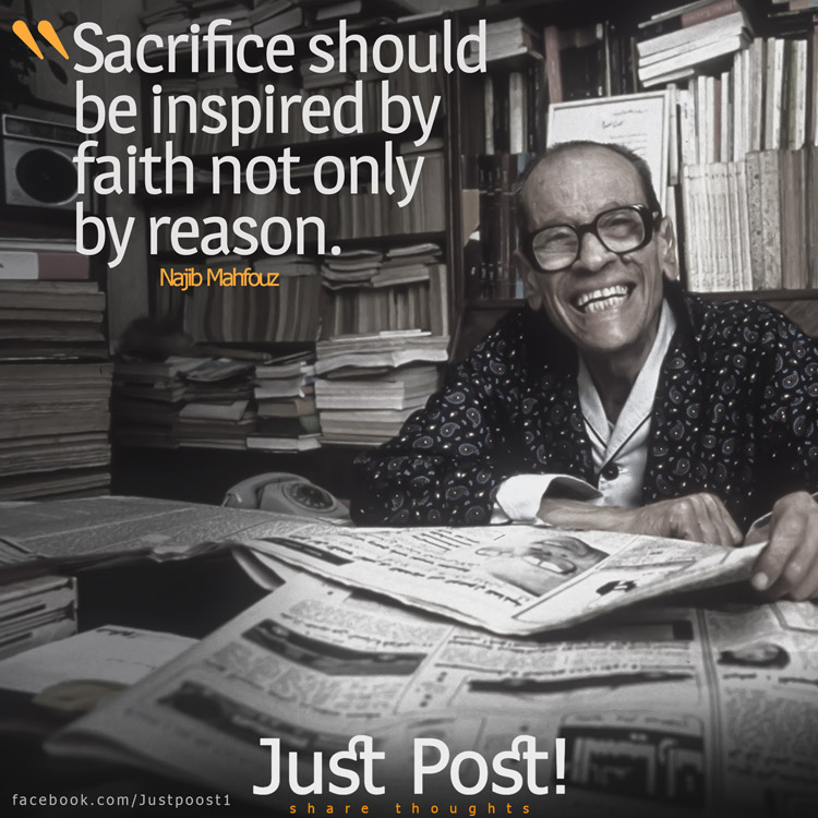 Sacrifice should be inspired by faith not only by reason