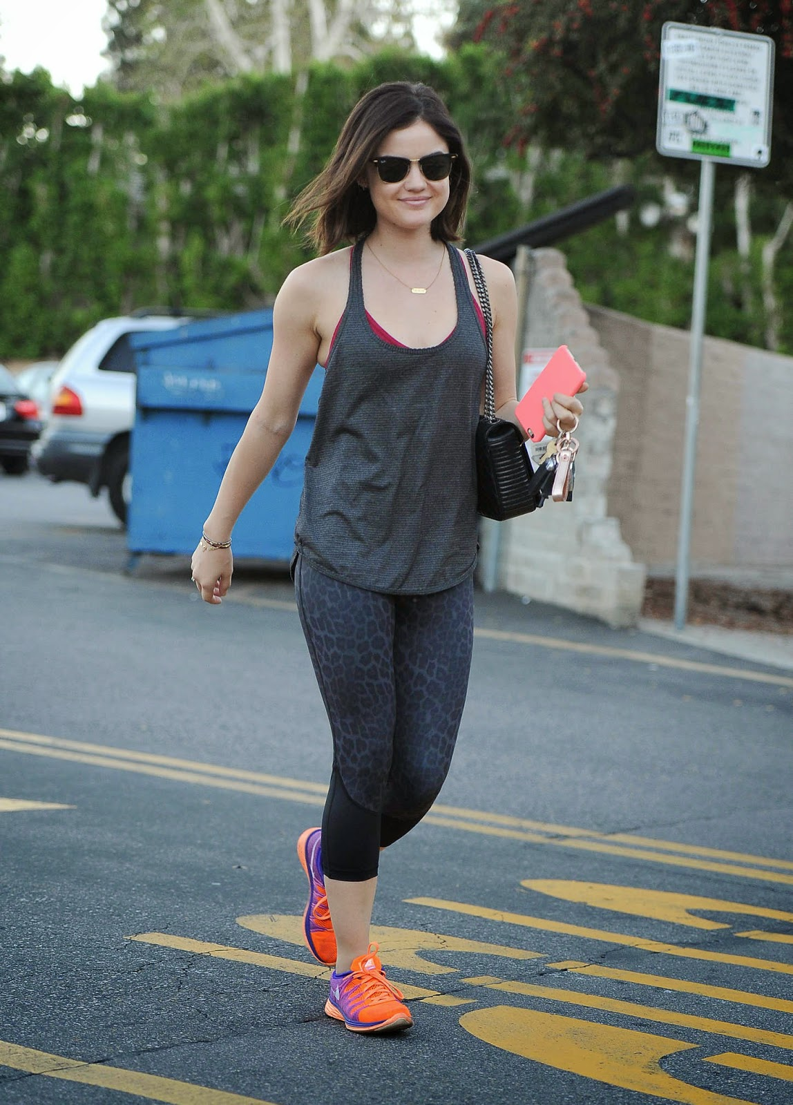 Lucy Hale spotted in gym wear out and about in LA