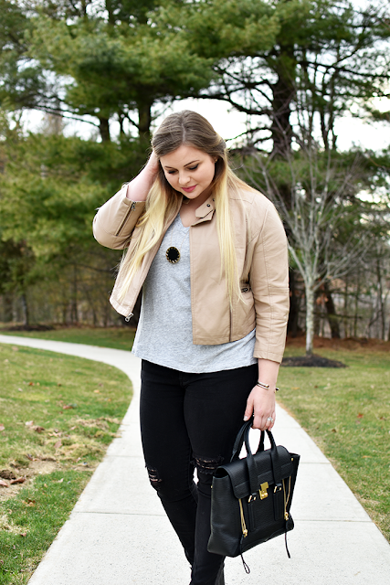 lauren conrad for kohls faux leather blush jacket ripped skinny black denim phillip lim pashli medium purse mules house of harlow sunburse necklace ombre blonde hair casual weekend look spring look