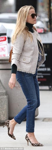 Reese Witherspoon in J. Crew leopard print shoes