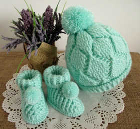 Diamonds Baby Set Crochet Hat and Booties