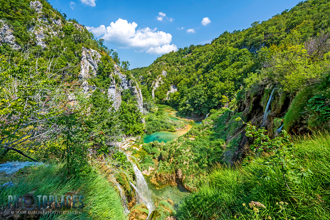 Plitvice lakes Korana river canyon between mountains