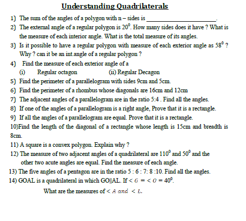 Understanding Quadrilaterals,maths for competition,sample paper for ssc,ctet,d.p,cgl,