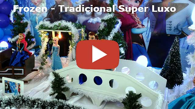 Mesa temática decorada com tema Frozen tradicional de tecido super-luxo