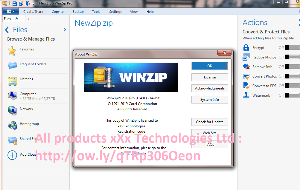 WinZip Pro 23 0 Build 13431 (32-64) BIT + keys + crack +