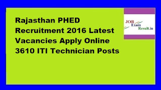 Rajasthan PHED Recruitment 2016 Latest Vacancies Apply Online 3610 ITI Technician Posts