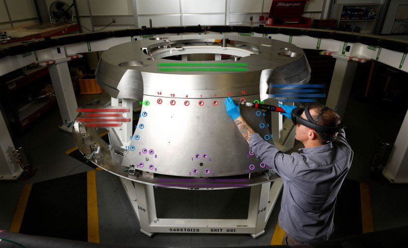 Using Hololens Augmented Reality Headset, Lockheed Martin employees working on NASA's new space capsule Orion