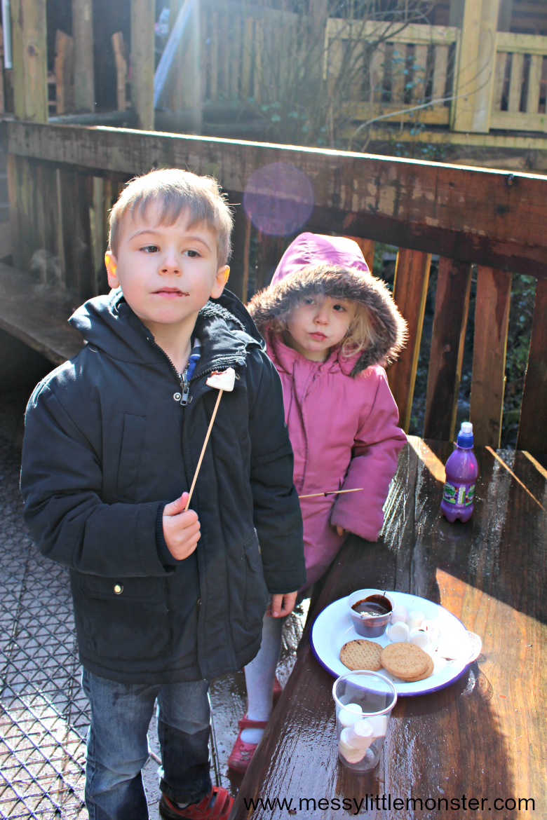 Bluestone Resort Review - toasting marshmallows at camp smokey