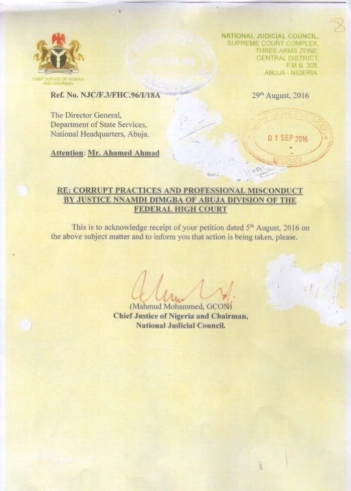 REVEALED: Raw Copies Of Letters Between DG of DSS And The NJC On The INDICTED Corrupt Judges