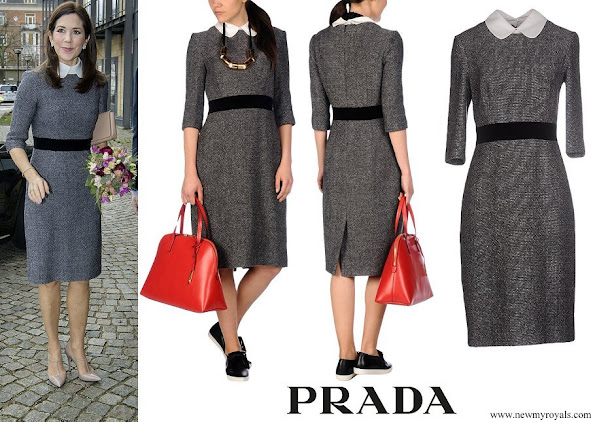 Crown Princess Mary wore Prada Knee-length peter pan collar dress
