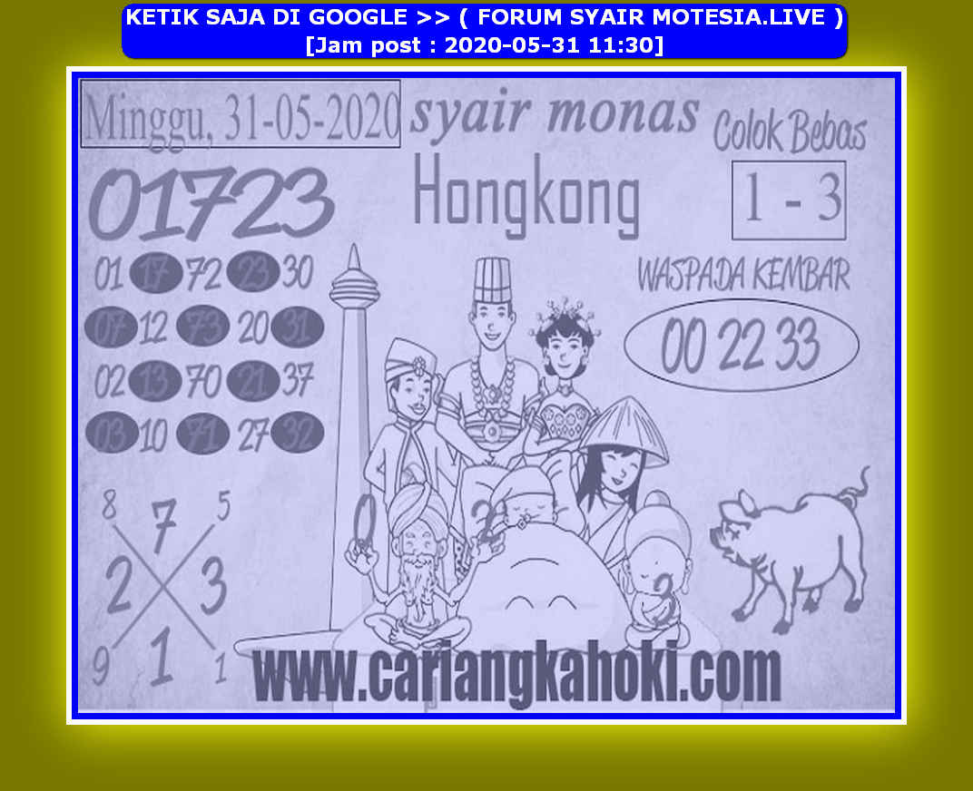 Kode syair Hongkong Minggu 31 Mei 2020 209