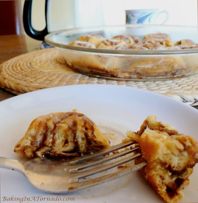Coffee Cinnamon Breakfast Rolls, quick cinnamon rolls infused with coffee and drizzled with a coffee glaze | Recipe developed by www.BakingInATornado.com | #recipe #breakfast #coffee