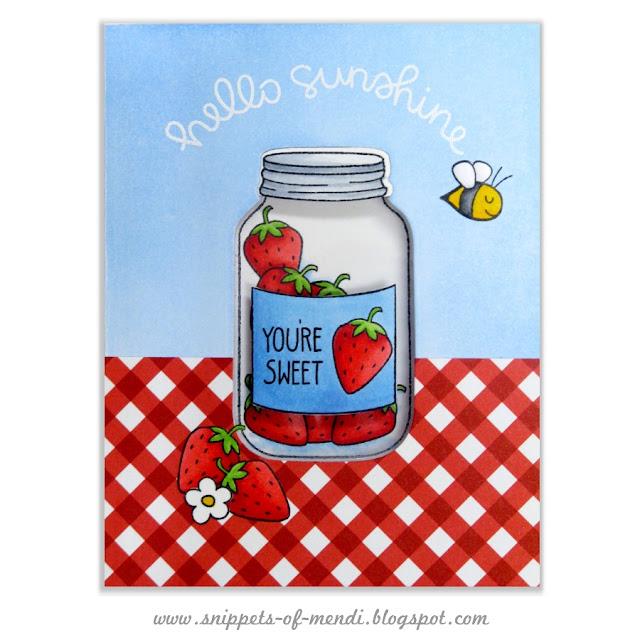 Lawn Fawn Summertime Charm Strawberry Jar Window Card by Mendi Yoshikawa