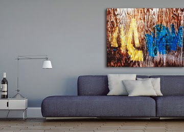brown, white, yellow, blue, wood, wall art, canvas print,