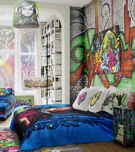 graffiti tapet ungdomsrum fototapet ungdomstapet cool tapet häftig tapet