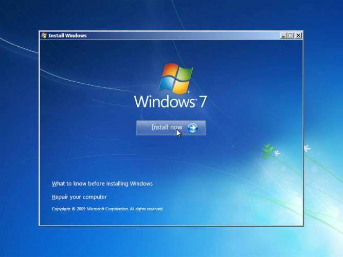 cara instal windows 7 mulai