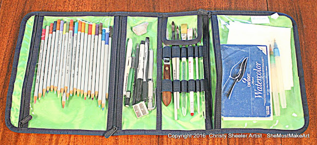 Zipper sections of bag for travel art supplies, watercolor pencils, drawing supplies, watercolor brushes, paper, waterbrushes