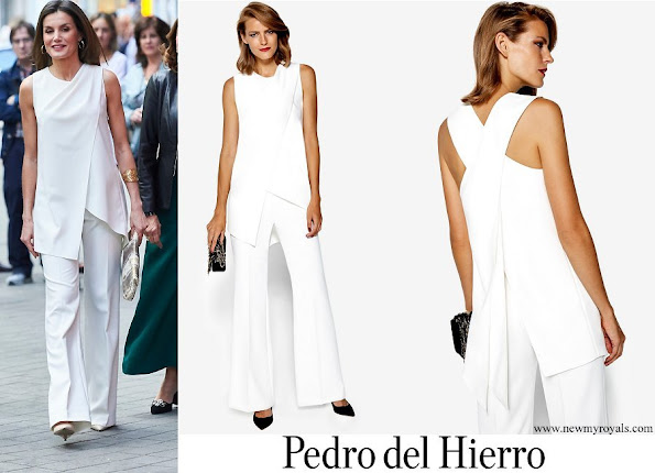 Queen Letizia wore a white dress by Pedro del Hierro