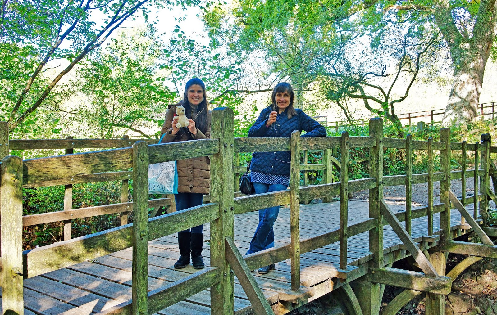 Kat Last and Mum standing on Pooh Bridge, Ashdown Forest