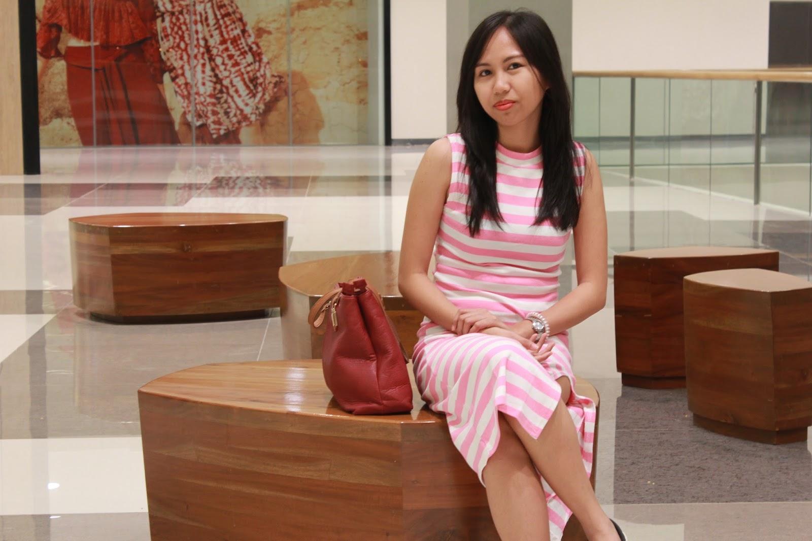 wearing pastel maxi dress