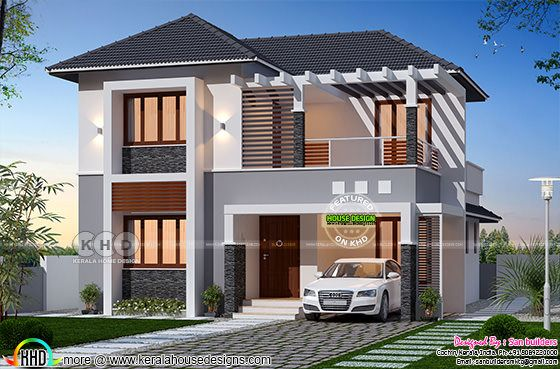 199 square yards sloped roof Kerala home plan