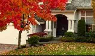 House with leafs on ground in fall.