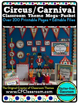 Are you planning an circus themed classroom or thematic unit? This blog post provides great decoration tips and ideas for the best circus theme yet! It has photos, ideas, supplies & printable classroom decor to will make set up easy and affordable. You can create an circus theme on a budget!