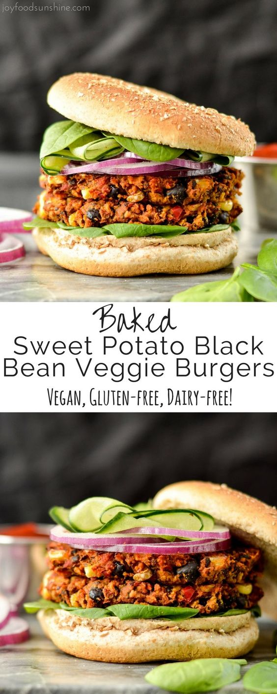 BAKED BLACK BEAN & SWEET POTATO VEGGIE BURGERS