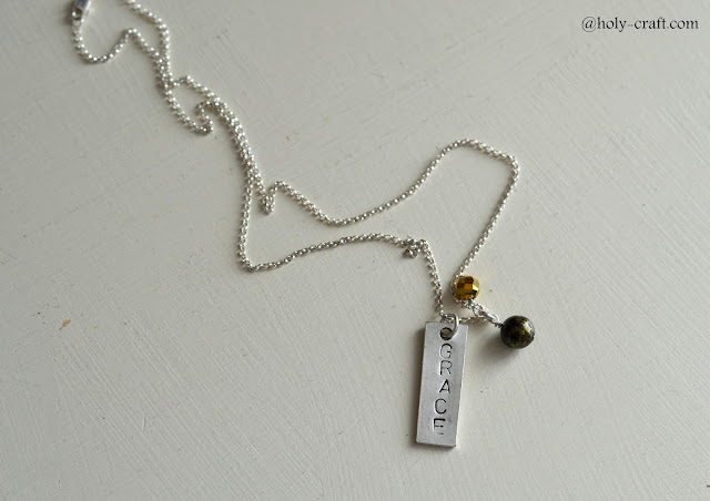 hand stamped grace necklace