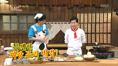 Happy Together Night Cafeteria Lee Yeon Bok Hwang Gwang Hee Ep.404 Yoo Jae Suk Jajangmyeon Chinese restaurant Uee Running Man Moklan enjoy korea hui Korean entertainment programs Saeu wanja tang Lee Duk Hwa Dongpayuk Chinese Broccoli Gai Lan Siwan Hyungsik ZE:A Six Man Infinite Challenge