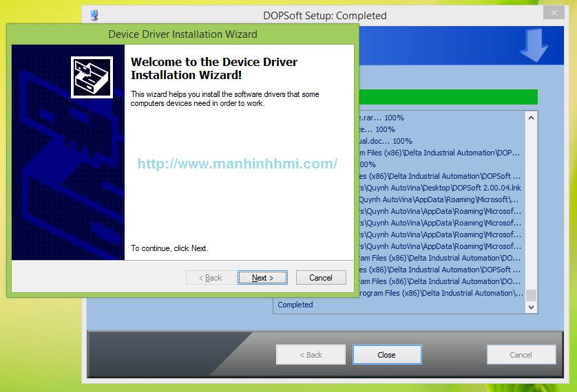Cài đặt Driver để kết nối màn hình HMI Delta DOP-B series, hướng dẫn sử dụng phần mềm DOPSoft