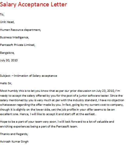 salary+acceptance+letter Salary Job Offer Letter Template on sample sales, for manager,