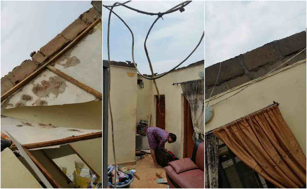 Wind Blowing On Building : Eyah heavy wind blows off roof of a building in lagos