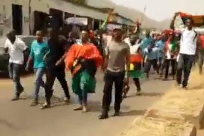 Video: Biafrans stage protest in Enugu as President Buhari boycotts visit