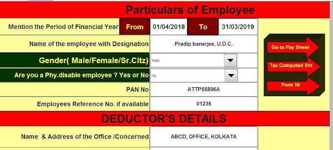 Income Tax House Rent Exemption U/s  80GG & 10(13A) With Automated All in One TDS on Salary for Govt & Non-Govt Employees for F.Y. 2018-19