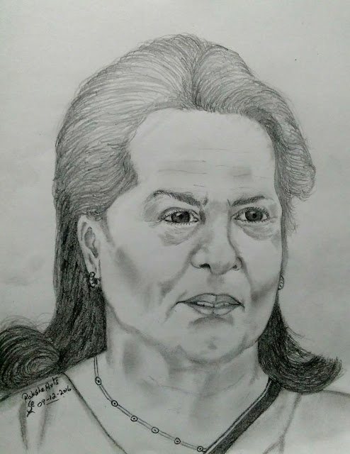 PENCIL DRAWING - Sonia Gandhi