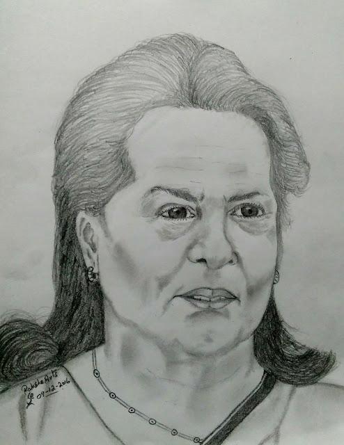 PENCIL DRAWING - Sonia Gandhi