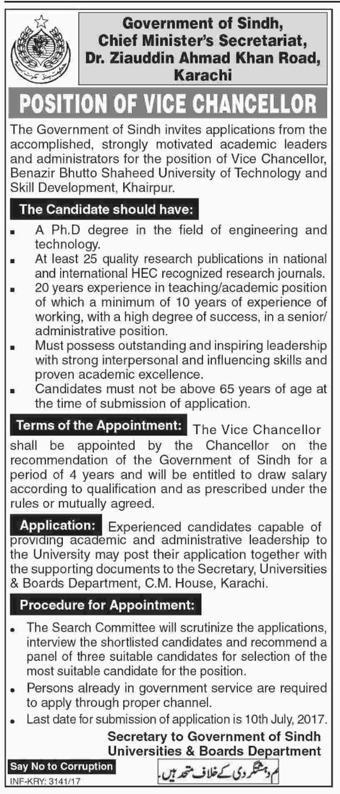Vice Chancellor jobs in Govt Of Sindh Chief Minister Secretariat 20 june 2017